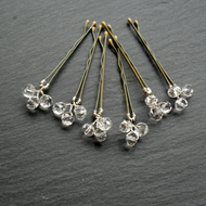 Set of Six Crystal Hair Pins