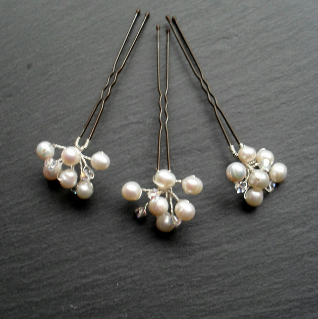 SALE Set of Three Freshwater Pearl and Swarovski Crystals Hair Pins