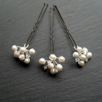 Set of Three Freshwater Pearl and Swarovski Crystals Hair Pins
