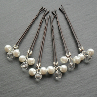 Sale Glass Pearl and Crystal Hair Pins