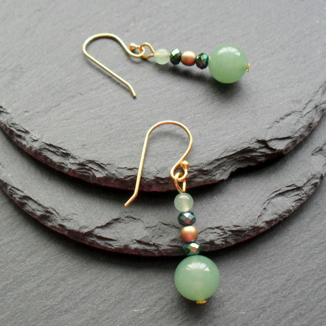 Green Aventurine Czech Glass and Crystal Drop Dangle Earrings