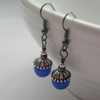 Blue Quartz Drop Earring Black Plated