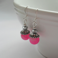 Bright Pink Frosted Agate Drop Earrings