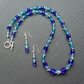 Blue Czech Glass Beaded Necklace and Earring Set