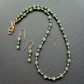 Green Frosted Aventurine Crystals and Gold Czech Glass Necklace  Earrings  Set