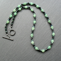 Frosted Green Aventurine Black Agate Crystals Black Tone Necklace