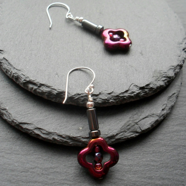 Burgundy Coated Haematite Haematite Drop Earrings