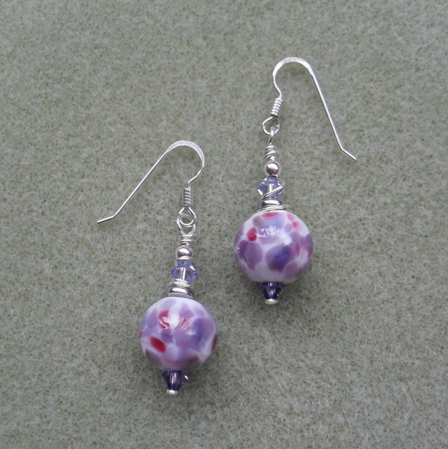 Purple, Lilac Lampwork glass Bead and Crystal Earrings Sterling Silver