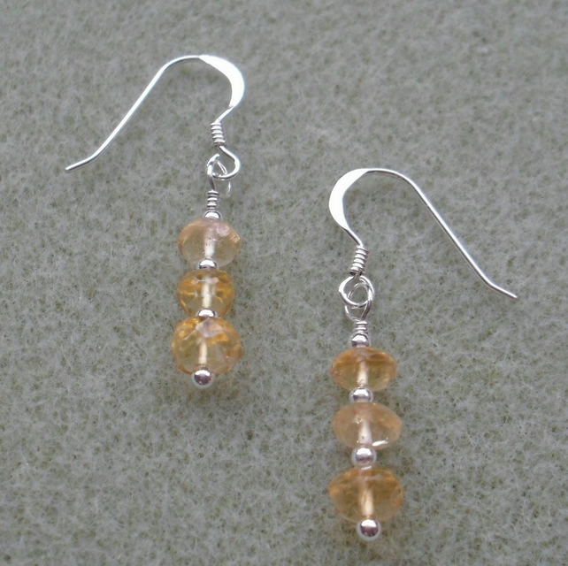 Dainty Citrine Gemstone Drop Earrings Sterling Silver