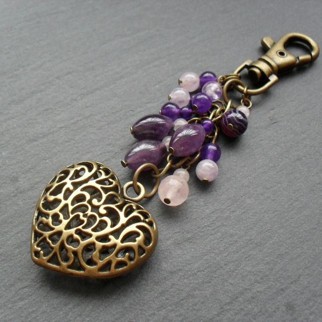 Purple Amethyst Rose Quartz Bronze Tone Heart Bag Charm