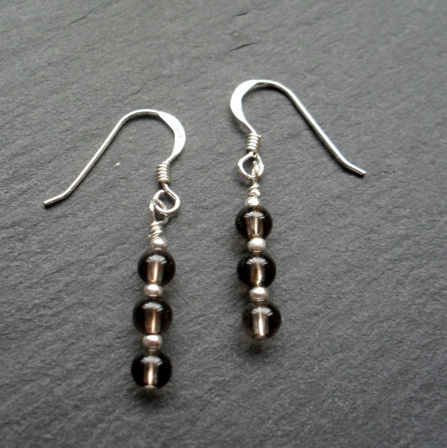 Dainty Smoky Quartz Drop Dangle Sterling Silver Earrings