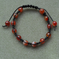 Agate Macrame Bracelet Knotted Burnt Orange