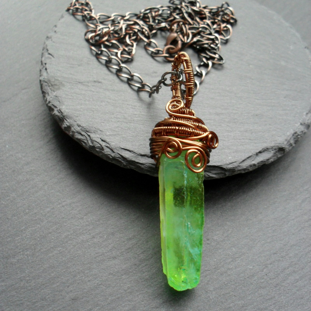 Green Coloured Quartz Drop Pendant Wire Wrapped Bronze Tone
