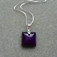 Sterling Silver and Purple Agate Pendant