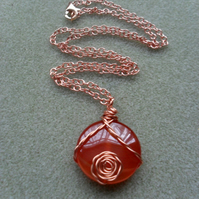 Rose Gold and Agate Pendant