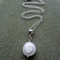 Sterling Silver Solar Quartz Pendant Necklace