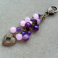 Purple and Pink Semi Precious Gemstone Bronze Tone Heart Bag Charm