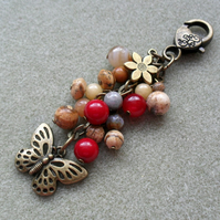 Butterfly Bag Charm With Semi Precious Gemstones Bronze Tone