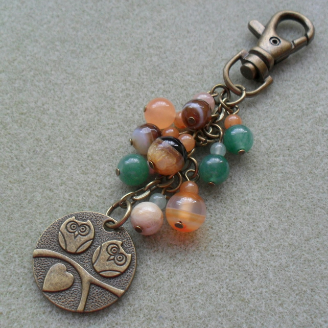 Owl Bag Charm Bronze Tone With Semi Precious Gemstones