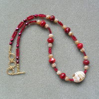 Red and Gold Glass Beaded Necklace Christmas Necklace