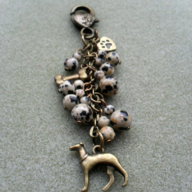 Greyhound Bag Charm With Jasper Semi Precious Stones