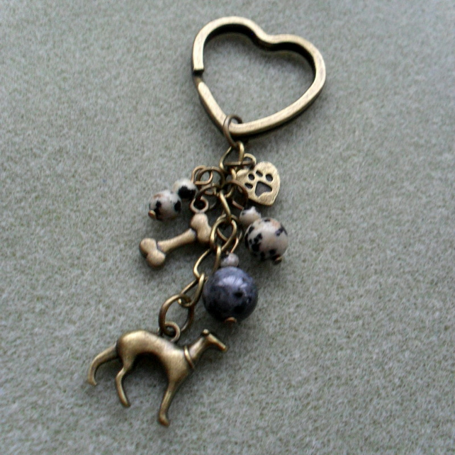Greyhound Dog Keyring I Love My Dog