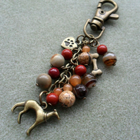Bronze Tone Greyhound Bag Charm Dog Bag  Charm