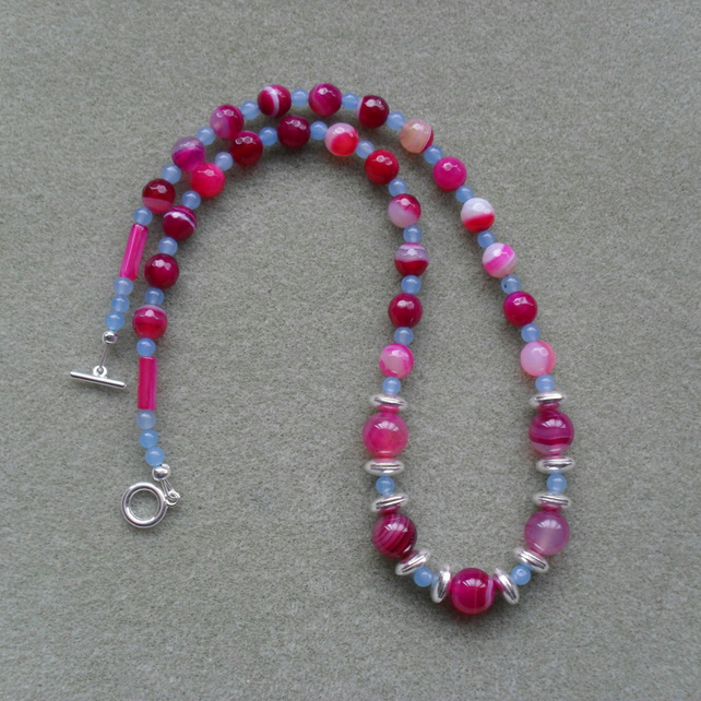 Fuchsia Agate and Blue Quartz Silver Plated Necklace
