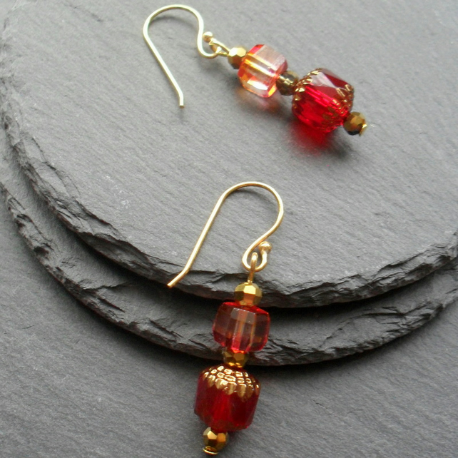 Red Czech Glass Earrings Christmas Earrings Stocking Filler