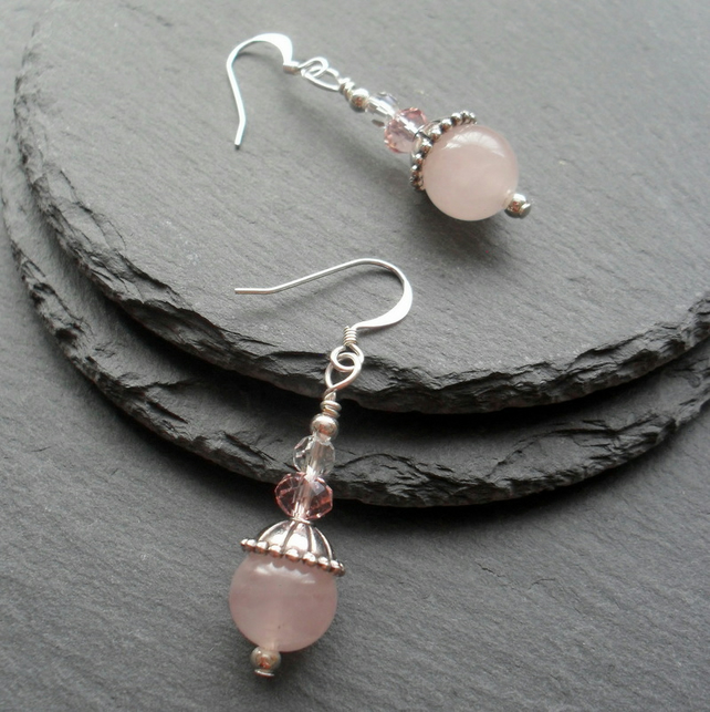 Rose Quartz and Crystal Drop Dangle Earrings