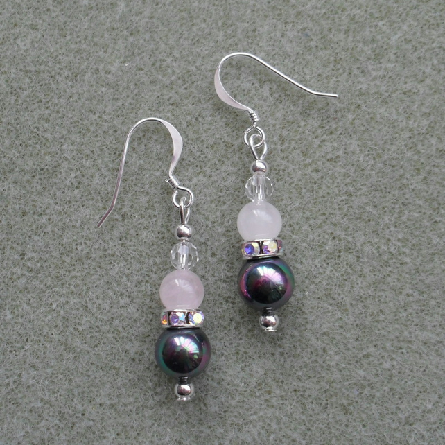 Rose Quartz Crystal and Faux Pearl Drop Earring Stocking Filler