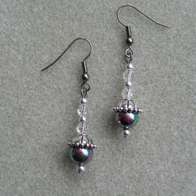Drop Earrings With Faux Pearl and Crystal Beads Stocking Filler