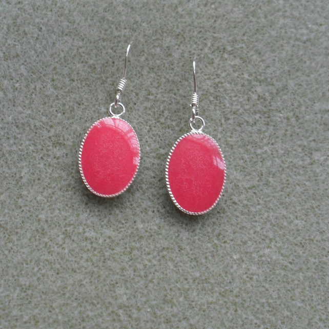 Hot Pink Resin Earrings Stocking Filler