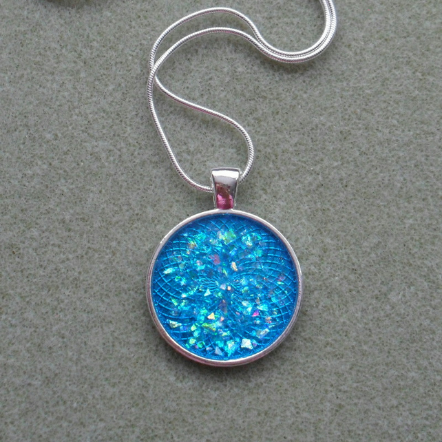 Round Blue Resin Pendant Necklace Stocking Filler