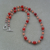 Agate Smoky Quartz Orange and Peach Sterling Silver Necklace