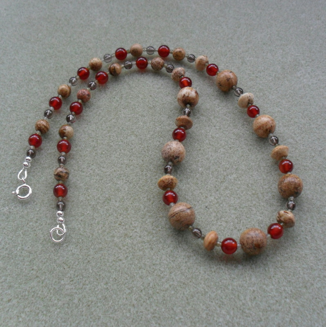 Picture Jasper Smoky Quartz Agate and Labradorite Necklace with Sterling Silver