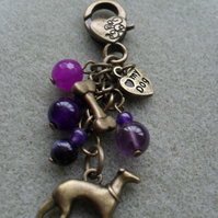 Purple Gemstone Greyhound Dog Bag Charm Stocking Filler