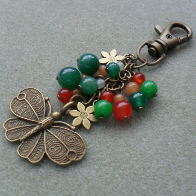 Semi Precious Gemstone Bag Charm With Butterfly and Flower Charms