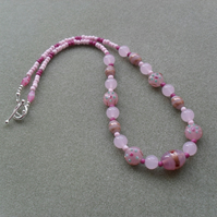 Pink Glass Beaded Necklace Stocking Filler