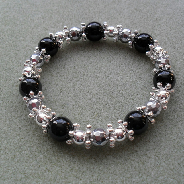 Stretch Silver and Black Bracelet Stocking Filler
