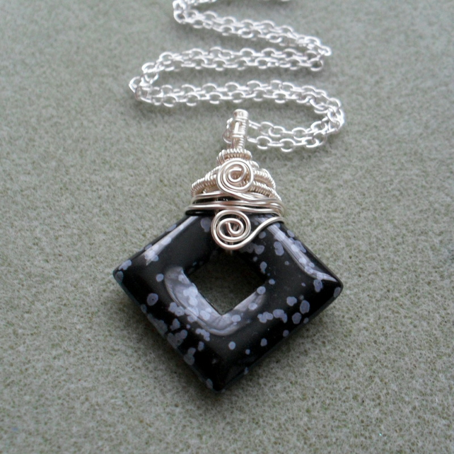 Snowflake Obsidian Wire Wrapped Pendant