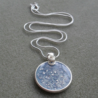 Pale Blue and Silver Handmade Resin Pendant