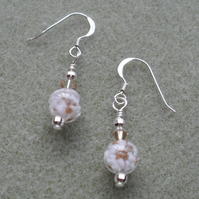 Murano Glass Sterling Silver Earrings With Crystals From Swarovski