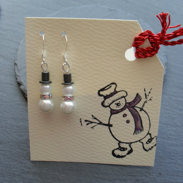 SALE Christmas Earrings Snowman Earrings Stocking Filler