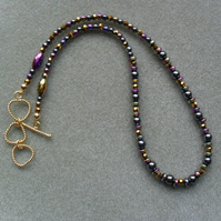 Multi Coloured Haematite Necklace Gold Plated