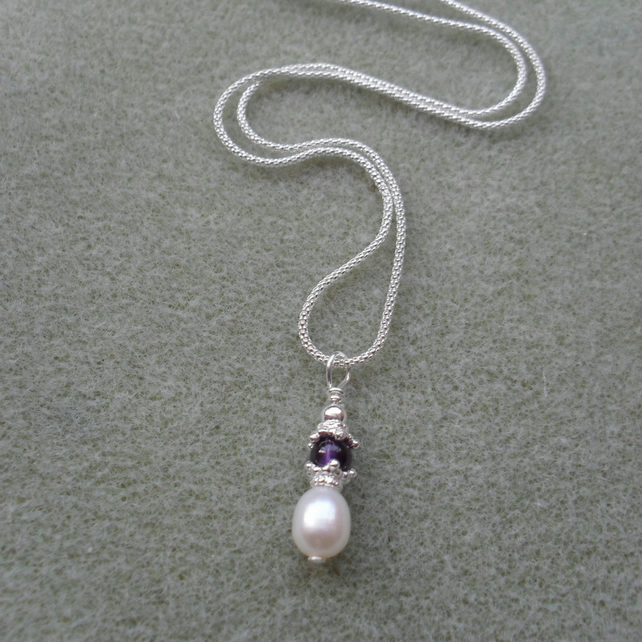 Freshwater Pearl and Amethyst Sterling Silver Pendant February Birthday
