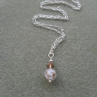 Sterling Silver Murano Glass With Crystal From Swarovski Necklace