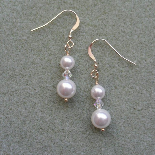 Gold Filled Earrings With Pearls and Crystals From Swarovski