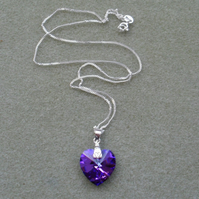 Sterling Silver Purple Crystal Heart Pendant With Crystal Heart From Swarovski