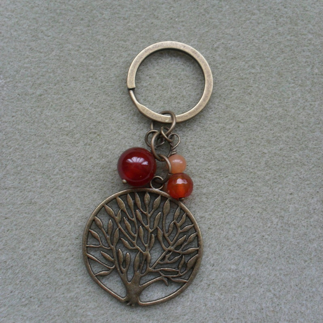 Tree of Life Keyring With Semi Precious Gemstones